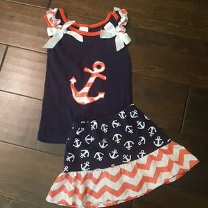 Red white and blue girl skirt and tank set